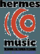 Hermes Music - Logo mit Untertitel am rechten unteren Seitenrand.